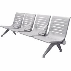 Aero Steel Public Beam Seating Series - 4-Seat Beam Seater in Gray Mist