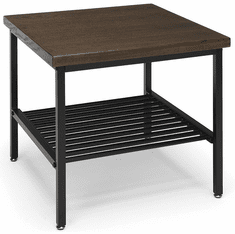 Walnut Reception End Table with Black Metal Frame