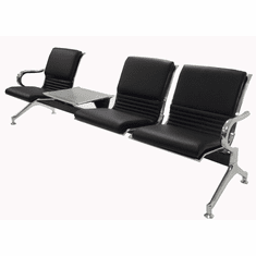3-Seater Upholstered Beam Seating w/Magazine Table