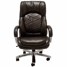 500 Lbs. Capacity Heavyweight Leather Office Chair in Brown or Black