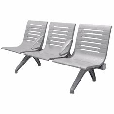 Aero Steel Public Beam Seating Series - 3-Seat Beam Seater in Gray Mist