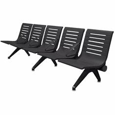 Aero Steel Public Beam Seating Series - 5-Seat Beam Seater in Black Shadow