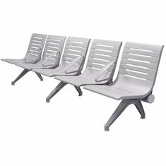 Aero Steel Public Beam Seating Series - 5-Seat Beam Seater in Gray Mist