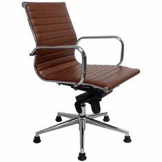 Contemporary Leather Swivel Guest Chair on Glides - Brown, White, Red and Black