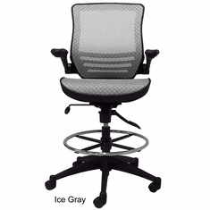 "Elastic Mesh Seat Drafting Stool w/Flip Arms - 24""-31"" Seat Ht."
