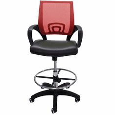 """Leather & Mesh Color Burst Drafting Stool w/26""""-30"""" Seat Height"""