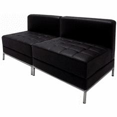 Modular Black 2-Seat Tufted Armless Loveseat