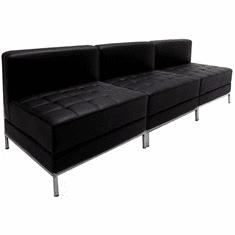 Modular Black 3-Seat Tufted Armless Sofa