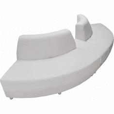 Modular White Leather Curved Convex  120 Degree Sofa w/Powered USB Ottoman