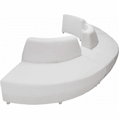 Modular White Leather  Curved Convex 180 Degree Sofa w/2 Powered USB Ottomans