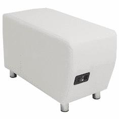 Modular White Leather Powered & USB Charging Ottoman