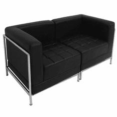 Modular Black 2-Seat Tufted Loveseat