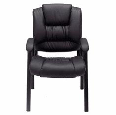 Deep Cushion Black Leather Guest Office Chair