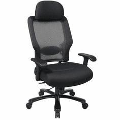 400 Lbs. Capacity Heavy Duty Black Mesh Back Executive Chair w/Headrest