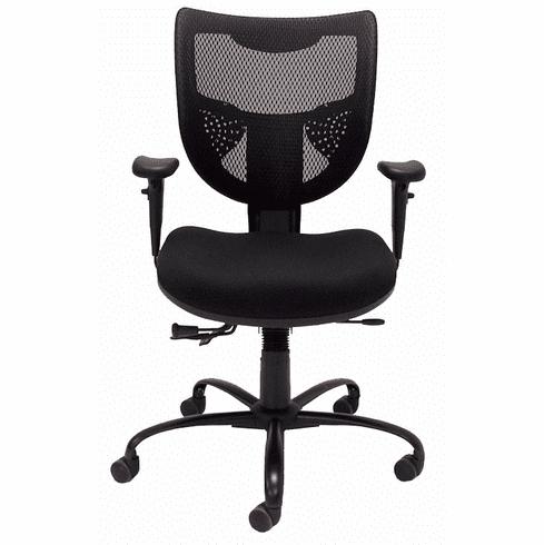 24/7 400 Lbs. Capacity Multi-Function Black Mesh Office Chair w/Adjustable Sliding Seat Depth