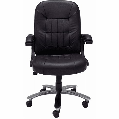 400 Lbs. Capacity Genuine Cowhide Black Leather Office Chair w/Flip Ups Arms