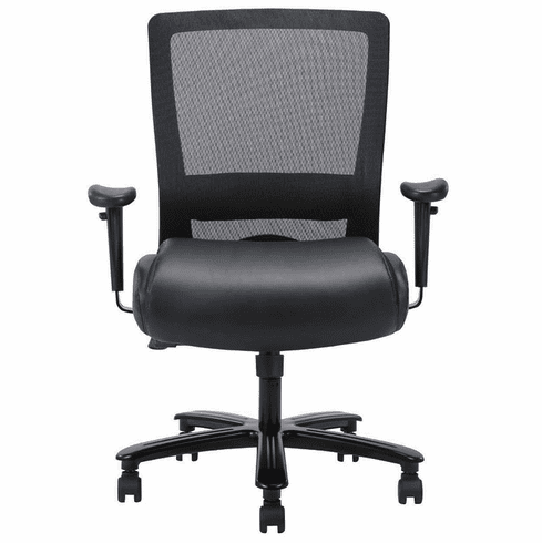 400 Lbs. Capacity Leather & Mesh Heavy Duty Desk Chair w/Adjustable Arms