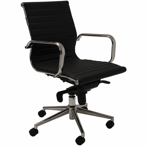 Contemporary Classic Mid Back Leather Office Chair