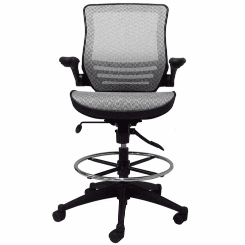 Elastic Mesh Seat Drafting Stool w/Flip Arms - 27-31 Seat Ht.