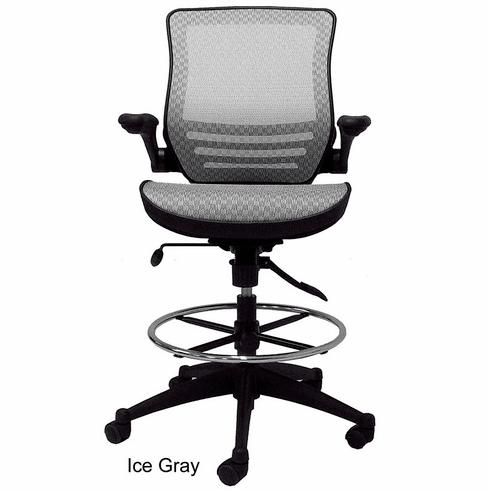 Elastic Mesh Seat Drafting Stool w/Flip Arms - 24-31 Seat Ht.