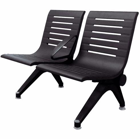 Aero Steel Public Beam Seating Series - 2-Seat Beam Seater in Black Shadow