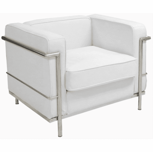 Modern Classic White or Black Leather Office Club Chair