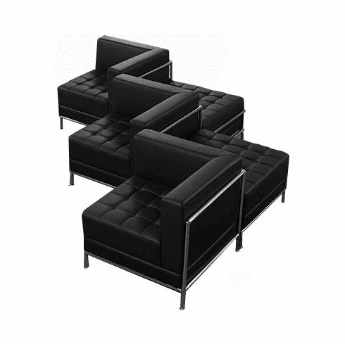 Modular Black Tufted 5-Seat Zig Zag Sofa