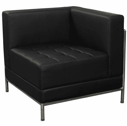 Modular Black Tufted Corner Chair