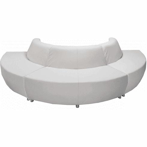 Modular White Leather Curved Convex 180 Degree Sofa