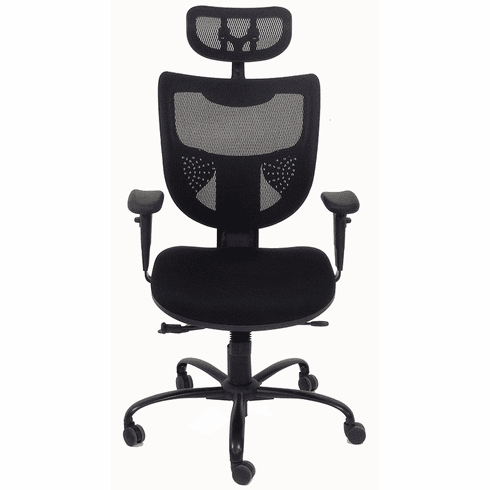 24/7 400 Lbs. Capacity Black Office Chair w/Adjustable Sliding Seat Depth & Headrest