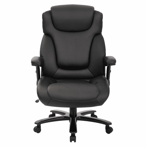 400 Lbs. Capacity Extra Wide Black Leather Office Chair w/ 25W Seat