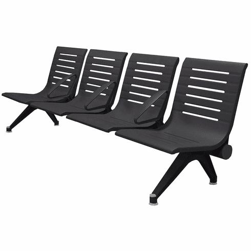 Aero Steel Public Beam Seating Series - 4-Seat Beam Seater in Black Shadow