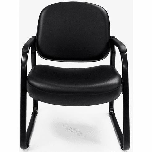 500 Lbs. Capacity Antimicrobial Black Vinyl Guest Arm Chair