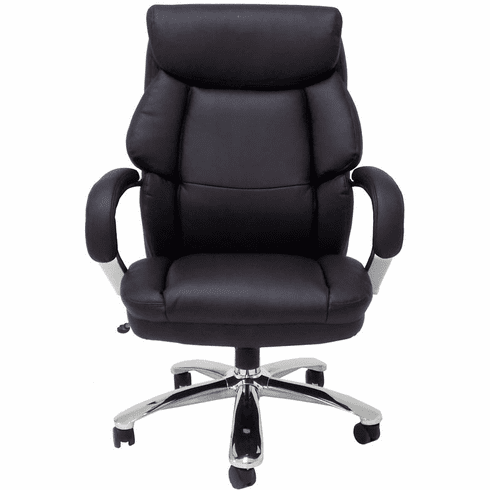 500 Lbs. Capacity Big & Tall Extra Wide  Black Leather Office Chair w/ 24W Seat
