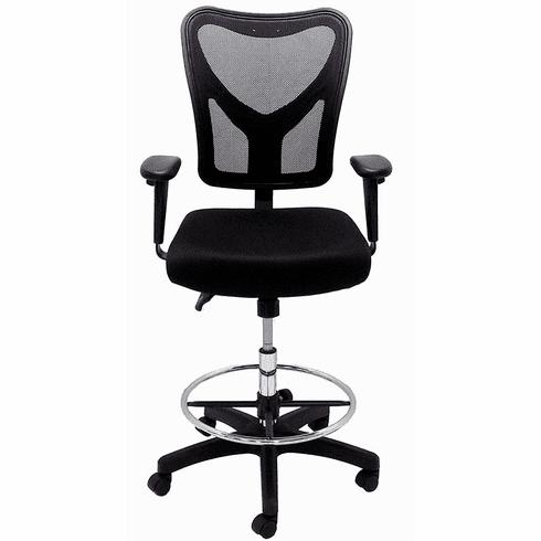 Black Mesh Multi-Function Ergonomic Office Stool - 23 - 31-1/2 Seat Ht.