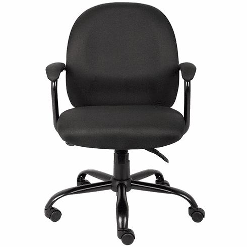 300 Lbs. Capacity Big & Tall Black Fabric Task Chair w/Padded Arms