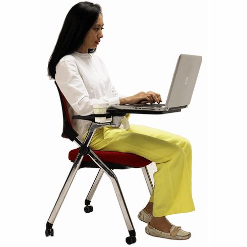 Mesh Back Nesting Chair w/ Flip Seat & Tablet Arm