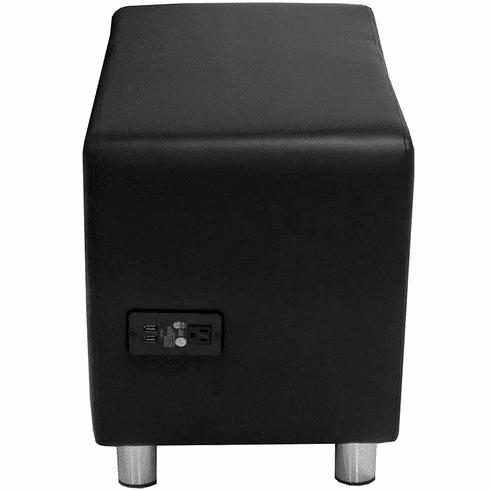 Modular Black Leather Powered & USB Charging  Ottoman
