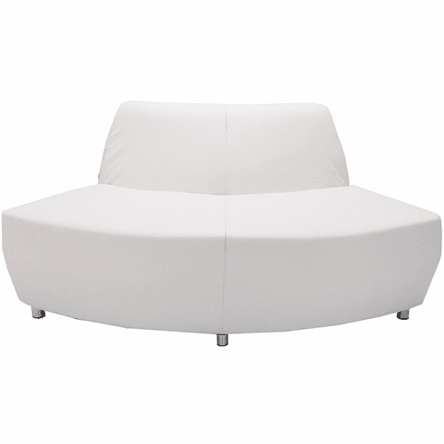 Modular White Leather 60 Degree Convex Sofa