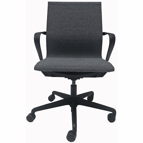 Simplistic Stretch Linen Office Chair in Charcoal Gray