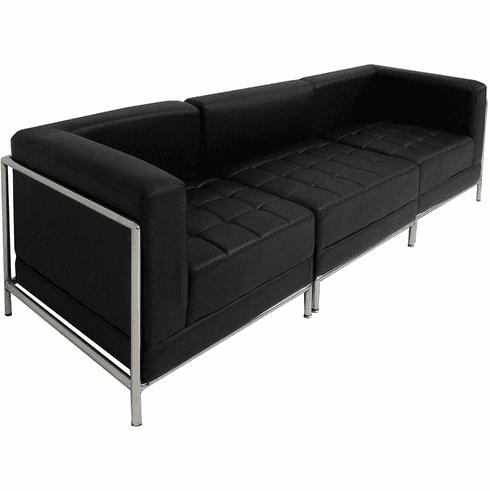 Modular Black 3-Seat Tufted Sofa