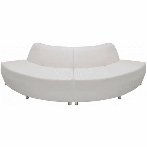 Modular White Leather Curved Convex  120 Degree Sofa