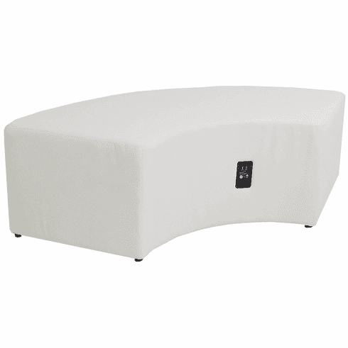 Modular  White Leather Powered & USB Charging Ottoman/Connector Table