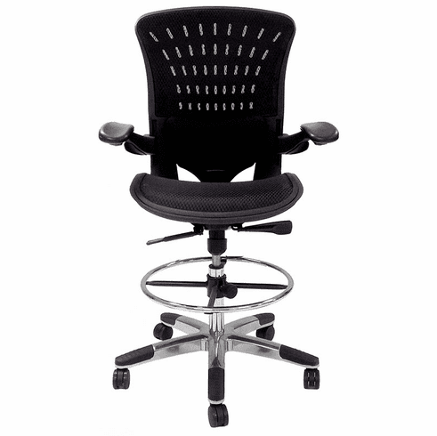 350 Lbs. Capacity ErgoFlex All-Mesh Office Stool - 27-30 Seat Ht.
