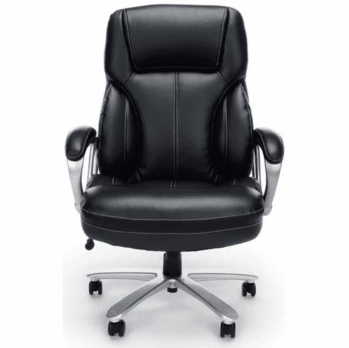 400 lb. Cap. Black Leather Big & Tall High Back Chair w/ 25W Seat