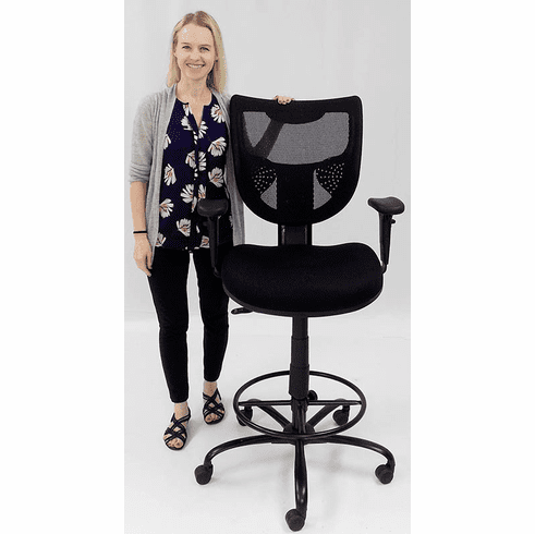 400 Lbs. Capacity Mesh Back Black Drafting Stool for Standing Desks & Conference Tables - 26-29/ 29-32H Seat Ht