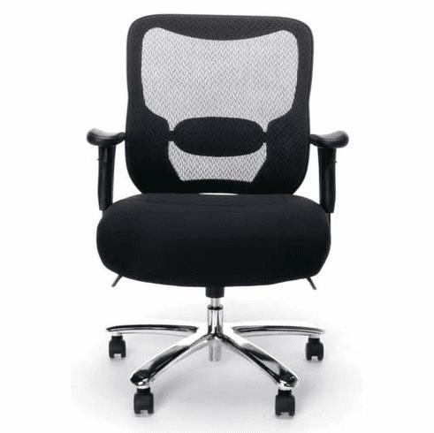 400 Lbs. Capacity Black Mesh Heavy-Duty Chair w/ 24W Seat