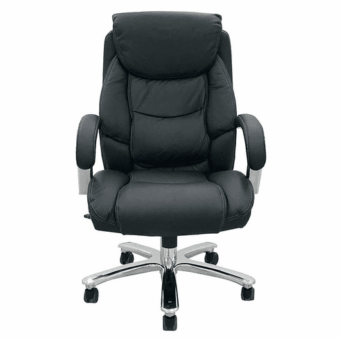 500 Lbs. Capacity Big & Tall Leather Desk Chair w/ 24W Seat