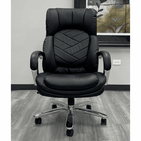 500 Lbs. Capacity Heavyweight Leather Office Chair in Black