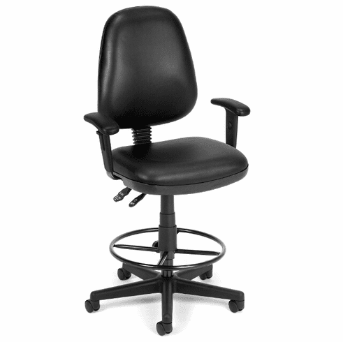 Antimicrobial Vinyl Drafting Stool w/ Arms - 23-27/27-31H Seat